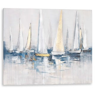 """Harbor"" Hand Painted Sail Boats on Canvas with Gold and Silver Leaf"