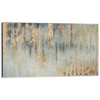 Rhythm Teal and Goldleaf Abstract Handpainted Canvas Artwork