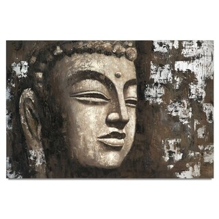 """""""Sacred Face"""" Neutral Oversized Buddha Head Hand Painted on Canvas"""