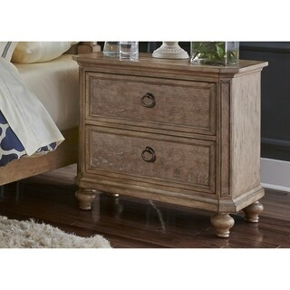 Simply Elegant Wire Brushed Heathered Taupe 2-drawer Nightstand