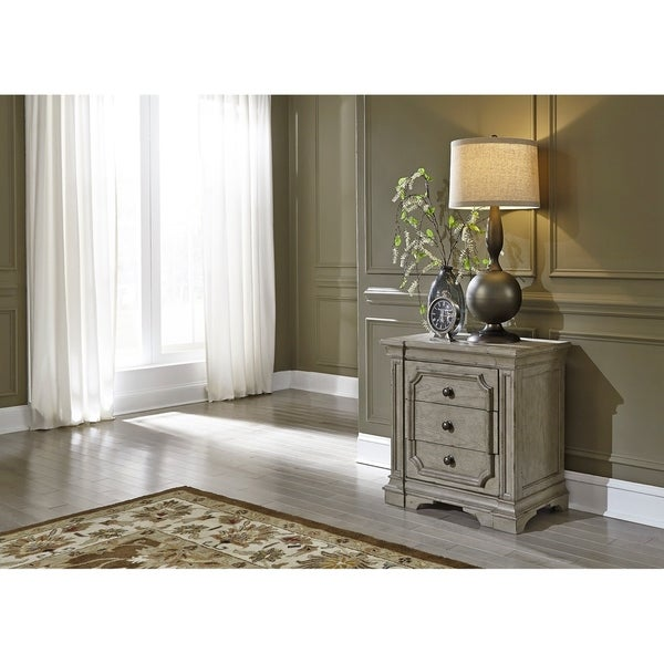 The Gray Barn Elm Tree Grey Taupe with Antique Brown Nightstand