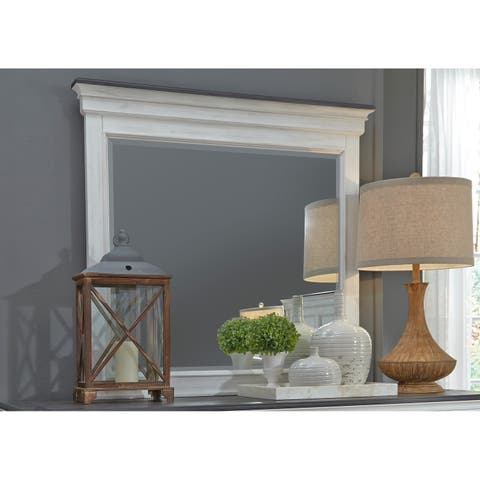 Copper Grove Aubervilliers Wire-brushed White Crown Mirror