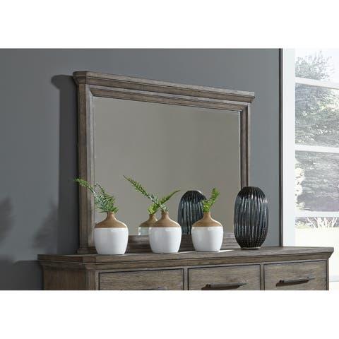 Copper Grove Letampon Wire-brushed Greyish Brown Aged Oak Chest Dresser and Mirror Set