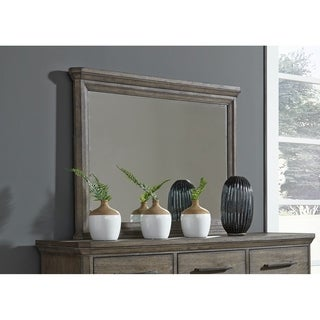 Artisan Prairie Wire Brushed Aged Oak Chesser Mirror - Grey/Brown