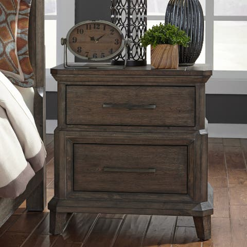 Copper Grove Letampon Artisan Wire-brushed Aged Oak 2-drawer Nightstand