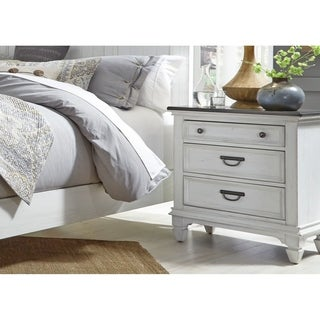 Allyson Park Wirebrushed White Night Stand