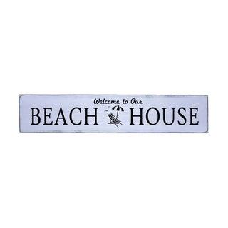 Welcome Beach House Handmade Farmhouse Wall Art Wood Sign 10in x 48 in