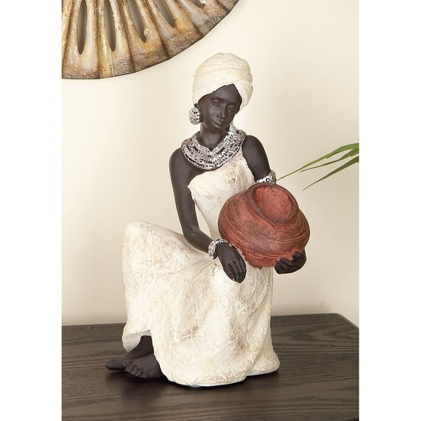 The Curated Nomad Merced African Woman Tabletop Polystone Sculpture