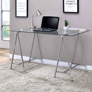 Furniture of America Bettino Contemporary Chrome Desk with Glass Top