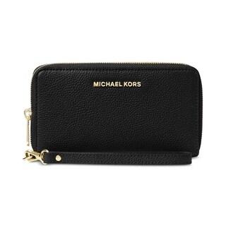 Link to MICHAEL Michael Kors Mercer Black Large Flat Multi Function Phone Case Similar Items in Wallets