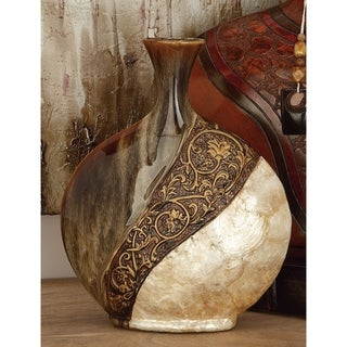 The Curated Nomad Belli Ceramic Decorative 17-inch Shell Vase