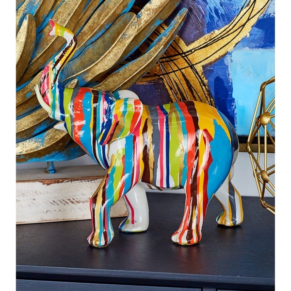 The Curated Nomad Merced Polystyrene Rainbow Elephant Statuette