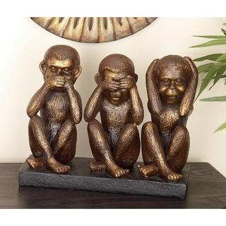Copper Grove Sariska Monkey See, Speak, Hear No Evil Sculpture