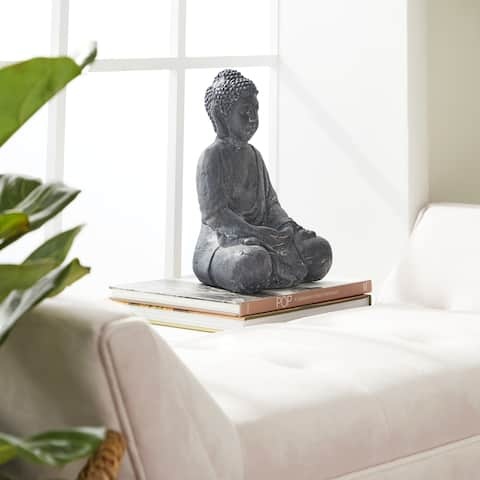 "Large Whitewashed Black Clay Buddha Statue Table Decor 8"" x 12"""