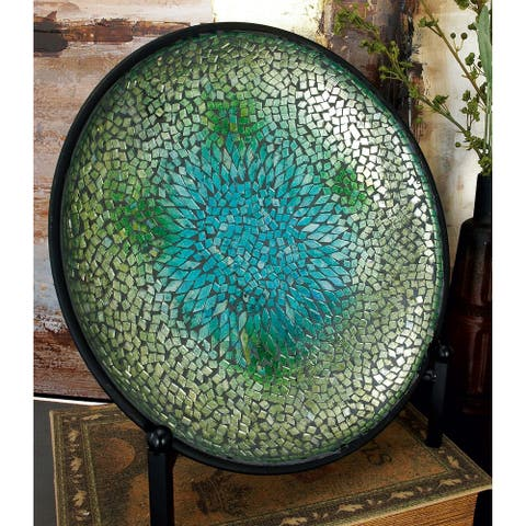 The Curated Nomad Lotta Metal Mosaic Blue Platter with Easel