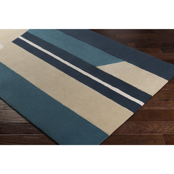 Carson Carrington Nadendal Hand-Tufted Abstract Stripe Wool Area Rug - 5' x 7'6""