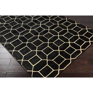 Carson Carrington Nyksund Hand-Knotted Black Geometric Wool Area Rug - 6' x 9'