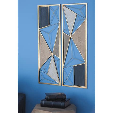 Large Rectangular Black Brown Modern Metal Wood Wall Plaques Set of 2