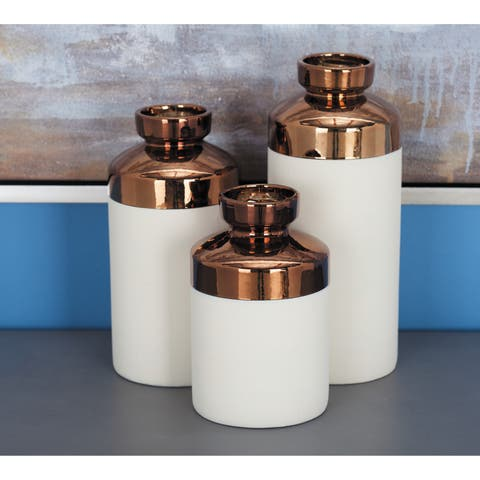 Tall Cylinder Metallic Copper & White Decorative Vases Set of 3