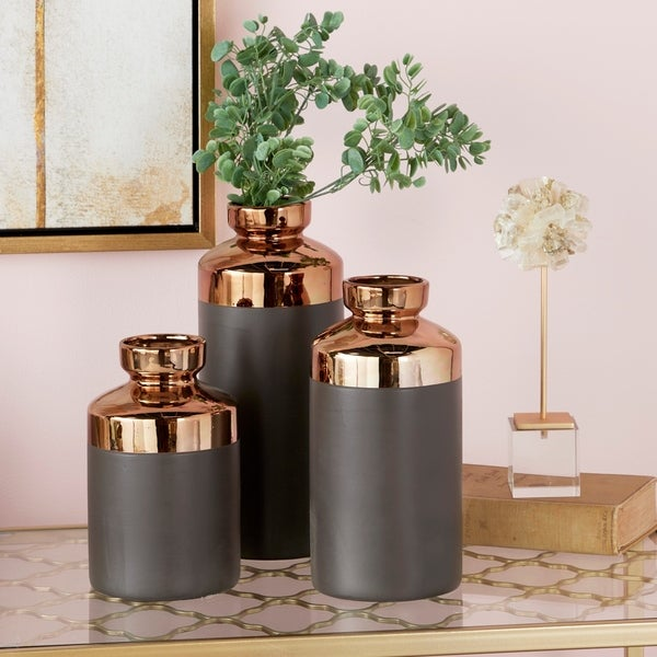 Tall Cylinder Metallic Copper & Gray Decorative Vases Set of 3