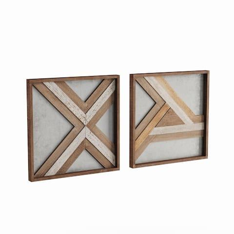 Carson Carrington Orivesi 16-inch Wood Metal Wall Plaque Set