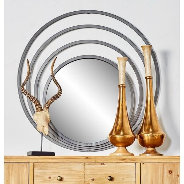 Strick & Bolton Sinatra 36-inch Grey Contemporary Iron Concentric Wall Mirror