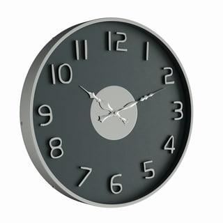 Porch & Den Klickitat14-inch Modern Round Black Stainless Steel Wall Clock