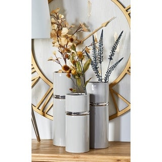 The Curated Nomad Dinah 3-piece Modern Ceramic Cylindrical Gray Vase Set