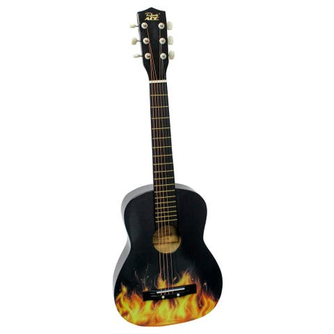 "30""Acoustic Guitar Black w/Flames"