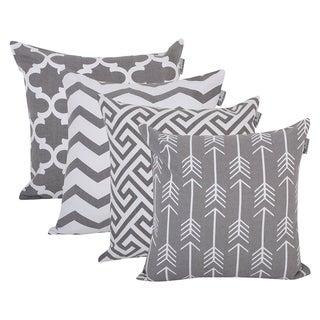Cotton Canvas Throw Cushion Cover Color Grey