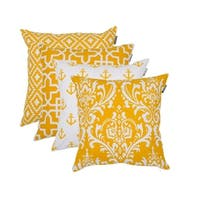 Square Printed Cotton Cushion Cover 18x18 in Yellow color