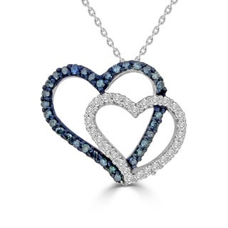 1 3 Cttw Blue White Diamond Double Heart Ladies Pendant Sterling Silver W 18 Chain Necklace