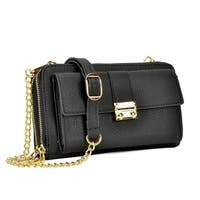 Dasein Double layer Zip Around and Front Snap Slot  Wallet with Chain Shoulder Strap