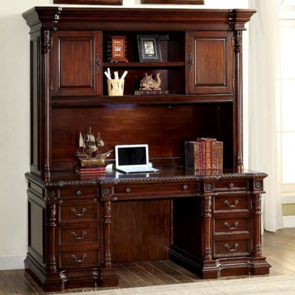 Multistorage Traditional Desk Hutch Cherry Brown