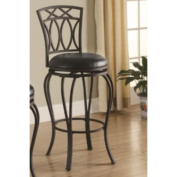 Shop Elegant Metal Barstool With Black Faux Leather Seat Free Shipping Today
