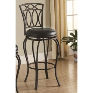 Elegant Metal Barstool with Black Faux Leather Seat