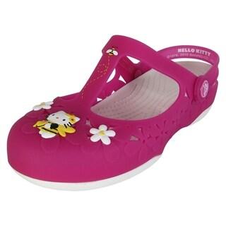Crocs Womens Carlie Mary Jane Flower Hello Kitty Shoes, Fuchsia/White