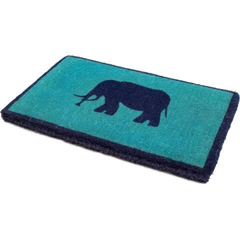 "Handmade Lucky Elephant Extra Thick Durable Doormat (India) - 18"" x 30"""