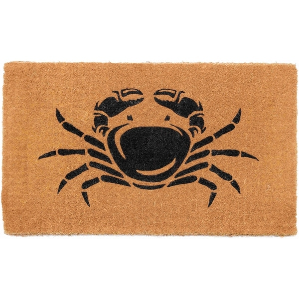 "Handmade Happy Crab Shack Extra Thick Durable Doormat - 18"" x 30"" (India)"