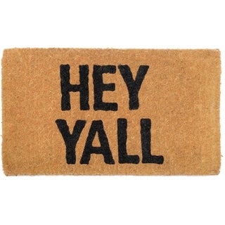 HEY YALL Doormat 18 x 30 Extra Thick Handwoven, Durable