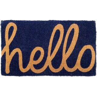 Cursive Hello Doormat 18 x 30 Extra Thick Handwoven, Durable - Dark Blue