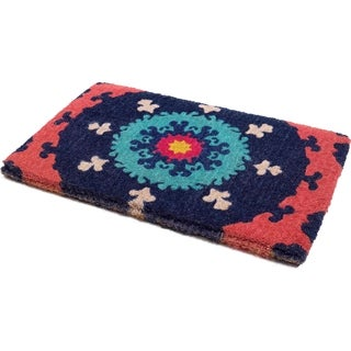 Suzani Doormat 18 x 30 Extra Thick Handwoven, Durable