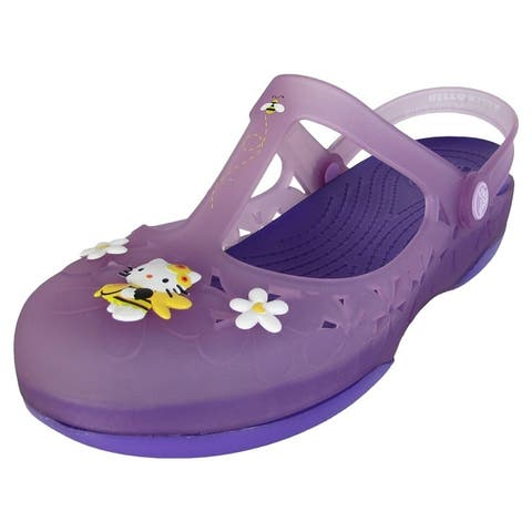 Crocs Womens Carlie Mary Jane Flower Hello Kitty Shoes, Iris/Neon Purple