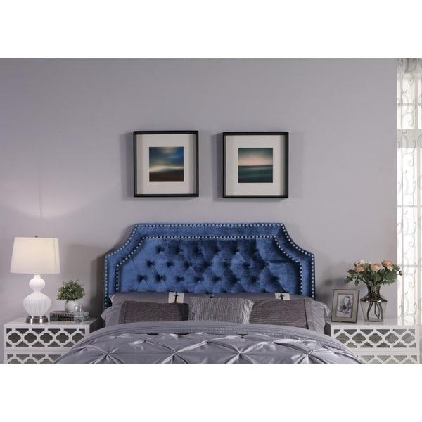 Chic Home Leda Velvet Upholstered Button-tufted Double-row Headboard