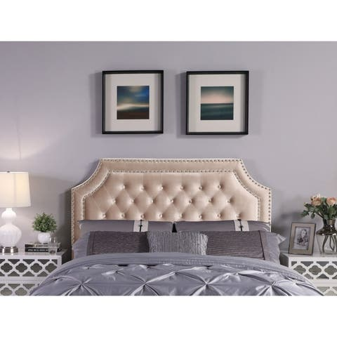 Chic Home Leda Velvet Upholstered Button-tufted Double-row Headboard