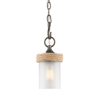 Chatham 1-Light Mini Pendant in Gunmetal Bronze with Clear Sandblasted Glass