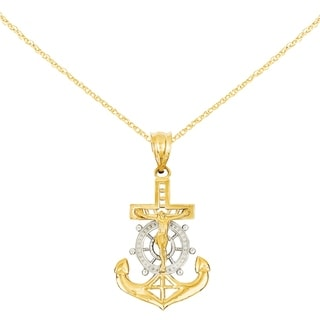 Versil 14 Karat With Rhodium Diamond Cut Mariners Cross Pendant With 18 Inch Chain