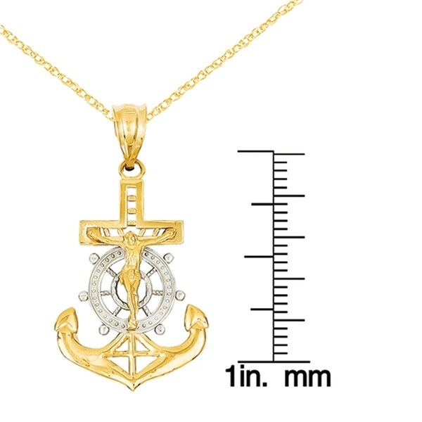 14k Yellow Gold Rhodium Diamond-cut Mariners Cross Pendant 30mmx17mm