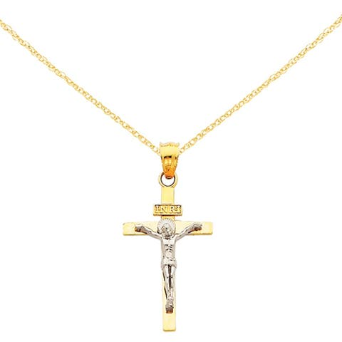 14 Karat Two-tone INRI Crucifix Pendant with 18-inch Chain by Versil