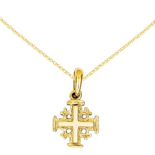 Versil 14 Karat Jerusalem Cross Pendant With 18 Inch Chain